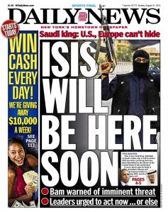 This newspaper, from August 2014, was already touting the ISIS threat to North America. ISIS repeated those threats in a video released January 12, 2015.
