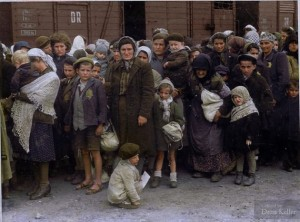 Jewish women and children arriving at Auschwitz, May 27 1944. Credit: History in Color's Photos - History in Color | Facebook Source: Facebook/HistoryInColor