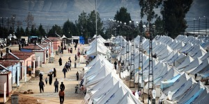 One of several tent cities set up in Syria and outside, to house more than 9 million displaced Syrians. Credit: UNHCR