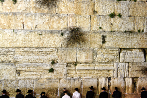 Evening prayers at the Wailing Wall in Jerusalem. Credit: Surreal Israel