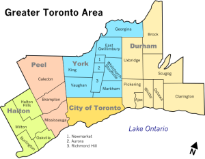 Communities making up the GTA (Greater Toronto Area) - Richmond Hill is represented on the map as