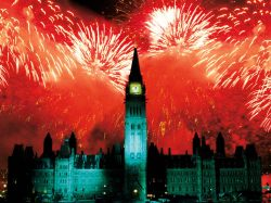 Canada Day fireworks over Parliament Hill, Ottawa