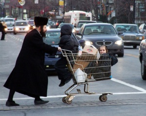 A Hasidic Jewish family shopping in Montreal, Quebec