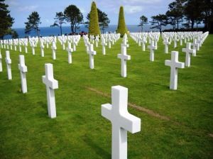 Acres of perfectly-placed crosses and Stars of David - more than 9,600 of them from D-Day alone - at the American Cemetary near Pointe du Hoc, France - site of the Omaha Beach/ Normandy landings on D-Day. Credit: Shawn Jorgensen, September 2009