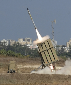 The Iron Dome defense system launches a mssile to counter a rocket fired by Hamas into Israel. Credit: AP