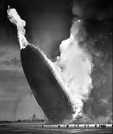 The Hindenburg zeppelin goes up in flames at Lakehurt Naval Air Station in New Jersey on May 6, 1937