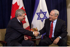 Prime Ministers Harper and Netanyaho shake hands in Ottawa, March 2012