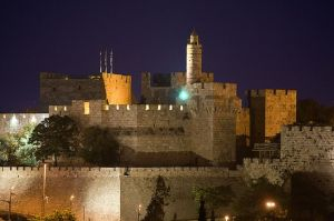 Tower of David at night