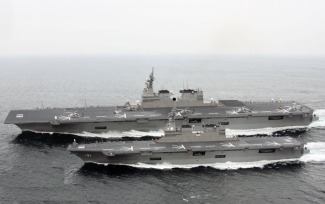 The Hyuga (bottom) and Izumo (top) class of helicopter carriers built for the Japanese navy.