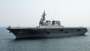 """Ceremonial deck assembly aboard the JDS Hyūga at the 2010 Ise Bay """"Marine Festa"""" [festival] in Japan."""
