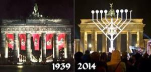 Berlin's Brandenburg Gate: in 1939, a symbol of Nazi power; and in 2014, framing a new Memorial to the Murdered Jews of Europe