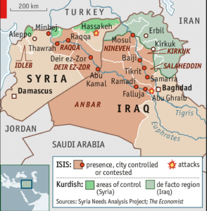 ISIS territory mapped (The Economist, June 2015)