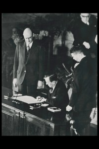 Foreign Minister Lester B. Pearson signs the North Atlantic Treaty in 1949. (Credit: NATO)