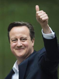 David Cameron is smiles after winning a majority government.