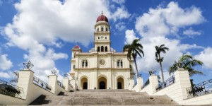 Steps to ornate church, El Cobre, Santiago de Cuba, Cuba