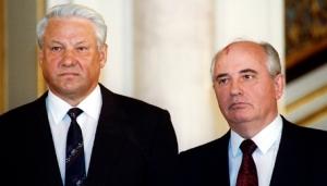Yeltsin & Gorbachev at the breakup of the Soviet Union. (Credit: FindingDulcinea.com)