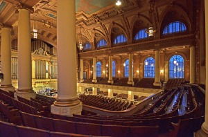 The glorious 100-year old Woolsey Hall, complete with 2,600 seats and the Newberry Memorial Organ, one of the world's largest and most renowned pipe organs.