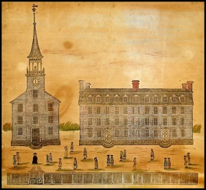 Yale College and the College Chapel by Daniel Bowen (1786)