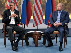A file picture dated 17 June 2013 shows Russian President Vladimir Putin (R) and US President Barack Obama (L) during bilateral talks on the first day of the G8 summit at Lough Erne in Northern Ireland, Britain. (Credit: EPA/Alexeo Nikolsky/Ria Novostti/KREM)