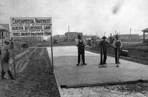 Experimental pavement made with bituminous sand. (Credit: Robert Fitzsimmons, 1930 / Edmonton Journal)