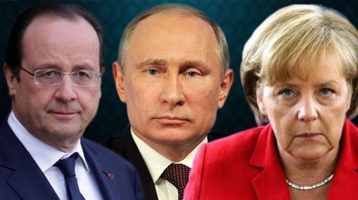 The new Anti-ISIS Triumvirate, born out of the horrors of terror: Presidents Hollande (France) & Putin (Russia), Chancellor Merkel (Germany)