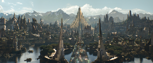 Marvel Comic's adaptation of the capital city of the Norse gods, including King Odin and crown prince (and comic book hero) Thor (Credit: Marvel)