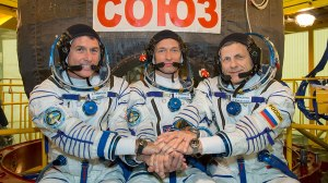 Crew 49, purported to be going to the International Space Station. I note that 2 are Russian, 1 is American. Credit: NASA)