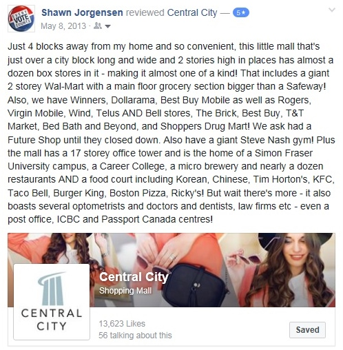 Original Facebook review of Central City Mall - May 8, 2013.