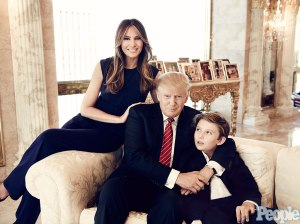 September 2015 photo of Donald and Melania Trump with the child they have together, Barron. (Credit: People Magazine)