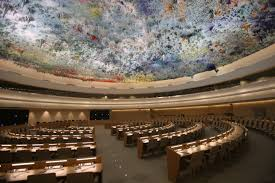 From the palatial Human Rights and Alliance of Civilizations Room of the Palace of Nations, some of the great human rights violators in history meet to condemn Israel, the only democracy in the Middle East. (Credit: United Nations)