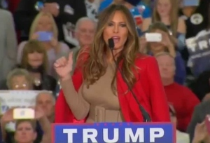 Melania Trump greets the capacity crowd of 12,000 on February 19, 2016 at the Myrtle Beach Convention Center in Myrtle Beach, SC. (Credit: Right Side Broadcasting)